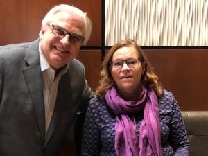 MDSC's President John Starzynski proudly presents Lesley Skelly with the 2019 Marg Starzynski Mental Health Leadership Award.